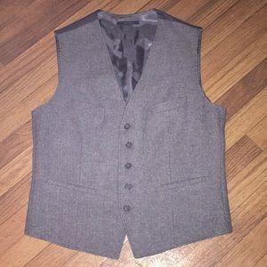 Express Gray Wool Herringbone Tweed Suit Vest M